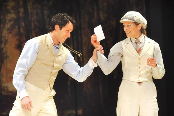 Christian Conn and Gretchen Egolf in Pittsburgh Public Theater's As You Like It.