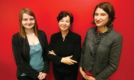 Christina Cann, Sue Frietsche and Tatyana Margolin of the Women's Law Project. Frietsche and Margolin are co-authors of a brief supporting Prowel. - HEATHER MULL