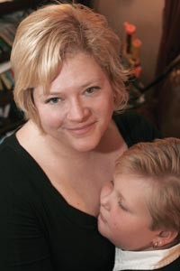 Christine Buffington with her son Edward, who is being treated for bipolar disorder - HEATHER MULL