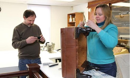 Cindy and Cory Sykes of Pittsburgh Upholstery and Classic Computer - HEATHER MULL