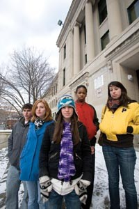 Clockwise from front: Schenley students Minrose Straussman, Molly Tonsor, Raven Miller, Christopher Thyberg, and Lauren Kunze. - HEATHER MULL