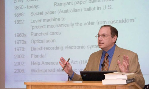 """CMU Professor Michael Shamos, the state's voting machine examiner: Machines, not paper will """"'protect ... the voter from rascaldom.'"""" - HEATHER MULL"""