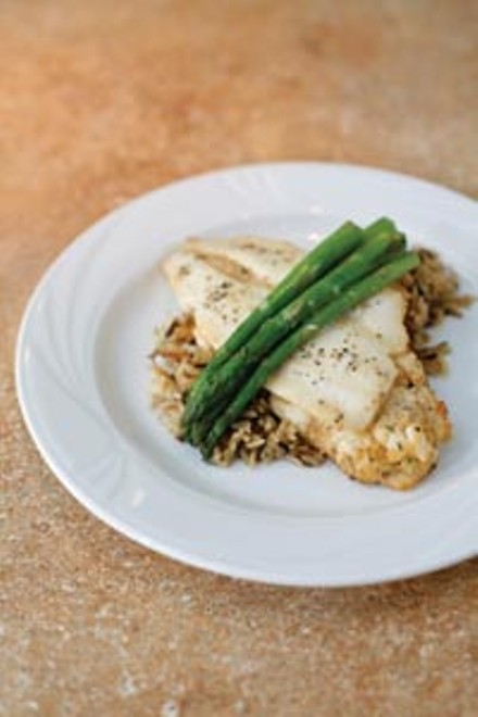 Crab-stuffed flounder with wild rice and asparagus - HEATHER MULL