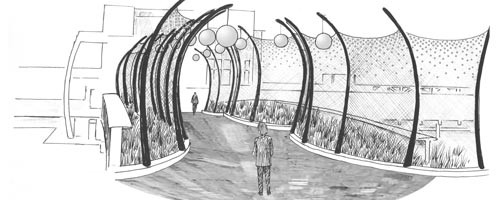 Crossing Ellsworth: Sheila Klein's design for a pedestrian bridge. Artist's rendering courtesy of Sheila Klein.