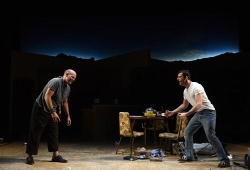 David Mogentale, as Lee, and Ken Barnett, as Austin, in True West