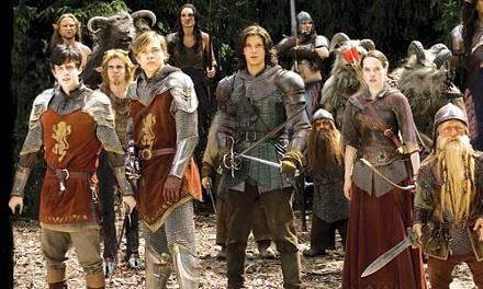 Defenders of Narnia: from left, Skandar Keynes, William Moseley, Ben Barnes, Anna Popplewell and Peter Dinklage