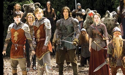 Defenders of Narnia: from left, Skandar Keynes, William Moseley, Ben Barnes, Anna Popplewell and Peter Dinklage