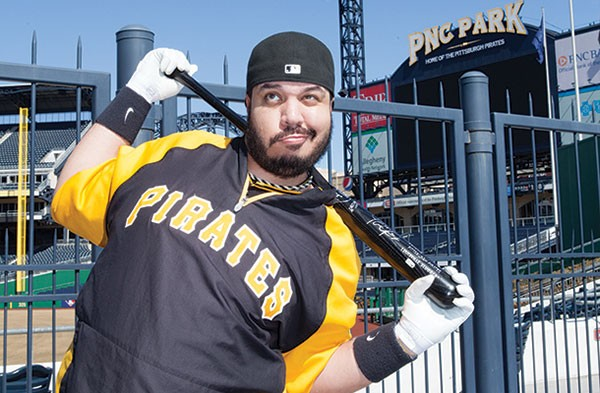 "Demitrius ""Fake Pedro"" Thorn outside of PNC Park"