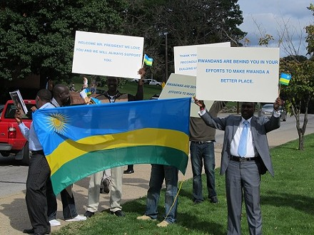 Demonstrators supporting Paul Kagame's partnership with CMU - PHOTO BY CHRIS YOUNG