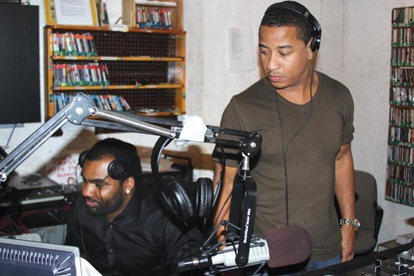 DJ ChaChee (right) at WPTS with Lhagic