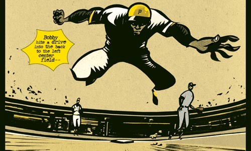Double time: Roberto Clemente heads into second for his 3,000th hit, as rendered by Wilfred Santiago.