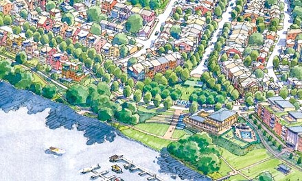 Down by the old mill site: River's Edge of Oakmont. Artist's rendering courtesy of Rothschild Doyno Architects.