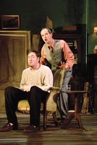 Drinking it in: Christopher Donahue (seated) and Mark Ulrich in The Seafarer, at City Theatre. - PHOTO BY SUELLEN FITZSIMMONS.