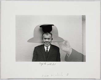 Duane Michals; Magritte with Hat, 1965; Gelatin silver print with hand applied text; Carnegie Museum of Art, Pittsburgh; Courtesy of the Artist and DC Moore Gallery