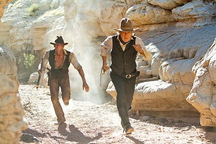 Dusty defenders of Planet Earth: Daniel Craig and Harrison Ford