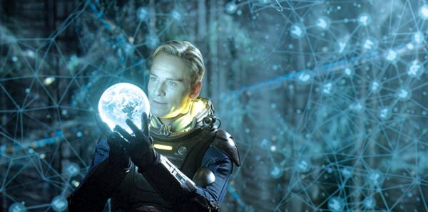 Earth, I presume: Michael Fassbender examines an intriguing orb.