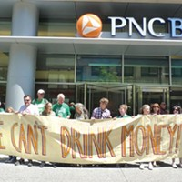 Earth Quaker Action Team protests PNC May 16.