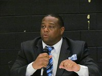 Ed Gainey holds forth on March 29 - PHOTO BY CHRIS YOUNG