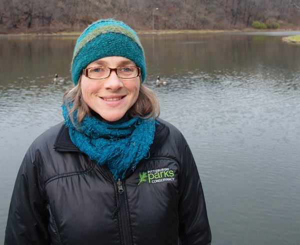 Erin Copeland, a senior restoration ecologist for Pittsburgh Parks Conservancy, at Panther Hollow Lake, which is prone to flooding
