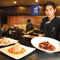 Executive chef Imsub Lee with (from left) <i>tai mika</i> salad, volcano blossom and <i>bulgogi</i> teriyaki
