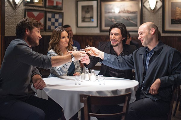 Family goes better with drinks: from left, Jason Bateman, Tina Fey, Adam Driver and Corey Stoller