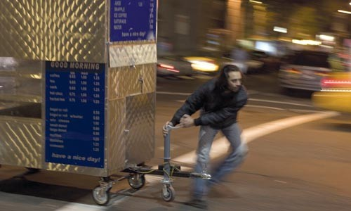 Fast food: Ahmad Razvi works the streets.