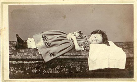 Final glimpse: A 19th-century photo of a dead child, from Bruce Klein's collection.