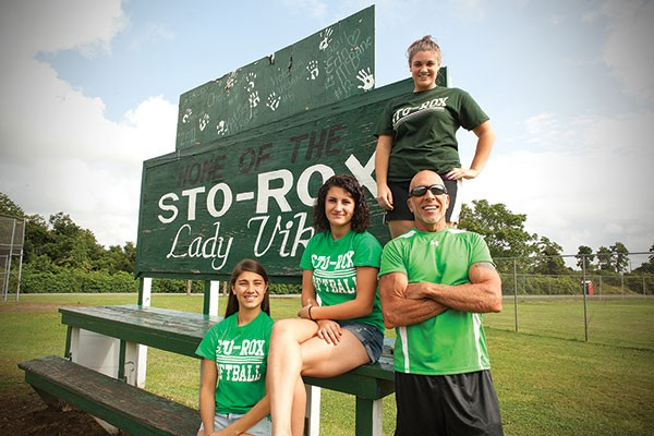 Former Sto-Rox softball coach Bill Palermo and his former players — from left, Rachel Gerster, Hayley Weisser and Josie Buckley — are working to try and save the school's championship program.