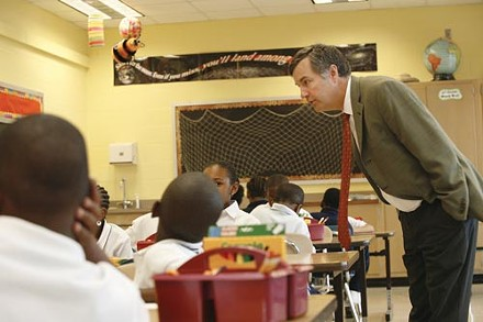 Former Superintendent Mark Roosevelt visiting an Accelerated Learning Academy in 2007. - PHOTO BY HEATHER MULL