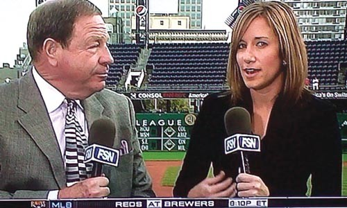 Fox Sports reporter Lacee Collins on-air with veteran broadcaster Stan Savran - COURTESY OF FSN PITTSBURGH