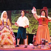 From left: Abigail Dueppen, Daniel Teadt and Andrey Nemzer in Opera Theater's <i>Candide</i>