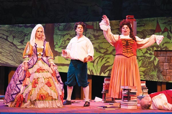From left: Abigail Dueppen, Daniel Teadt and Andrey Nemzer in Opera Theater's Candide