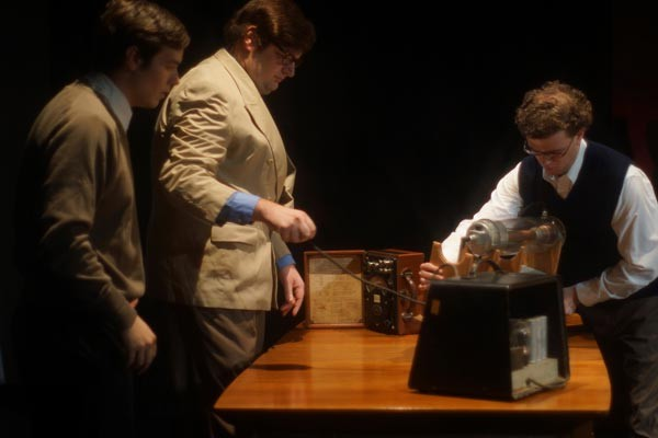 From left: Casey Cunningham, Andrew D. Wold and Matt Henderson in Throughline Theatre's The Farnsworth Invention.