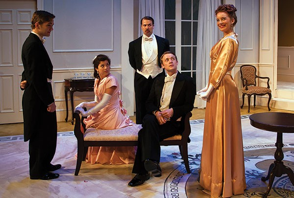 From left: Dylan Marquis Meyers, Hannah Morris, Jordon Ross Weinhold, Casey Jordan and Lily Davis in Lady Windermere's Fan, at Pittsburgh Irish & Classical