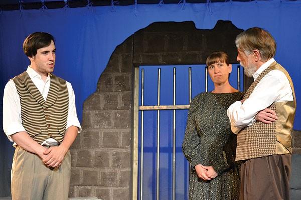 From left: Jordan Walsh, Amy Portenlanger and Gordon Spencer in Throughline's The Night Thoreau Spent in Jail.