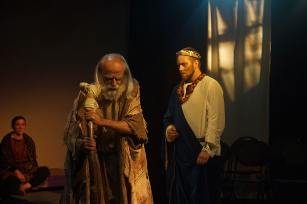 From left: Katie Trupiano, John Henry Steelman and Joseph Ryan Yow in Throughline's Oedipus Rex.