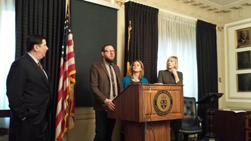 From left: Mayor Bill Peduto, Matt Barron, Laura Meixell, and Councilor Natalia Rudiak