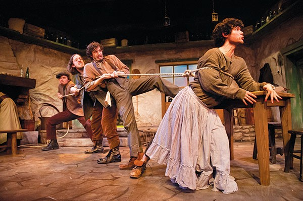 From left: Nick McDonough, Kyle Coughlin, Drew Palajsa and Nick Duggan in the Conservatory Theatre Company's The Playboy of the Western World