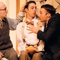 (from left) Ryan Patrick McFarland, James Masciovecchio and Justin Fortunato in the Playhouse Conservatory's <i>Room Service</i>