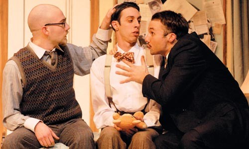 (from left) Ryan Patrick McFarland, James Masciovecchio and Justin Fortunato in the Playhouse Conservatory's Room Service - COURTESY OF DREW YENCHAK