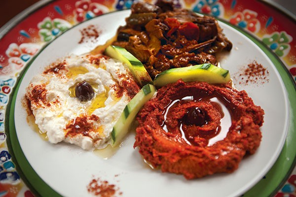 From left: smyrna (grilled eggplant with yogurt and garlic), fried eggplant, and Mediterranean dip (peppers and tomato)