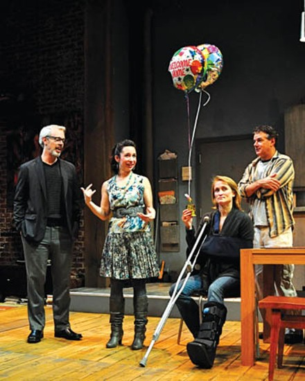 (from left) Tim McGeever, Robin Abramson, Angela Reed and Andrew May in City Theatre's Time Stands Still. - PHOTO COURTESY OF SUELLEN FITZSIMMONS.