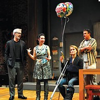 (from left) Tim McGeever, Robin Abramson, Angela Reed and Andrew May in City Theatre's <i>Time Stands Still</i>.