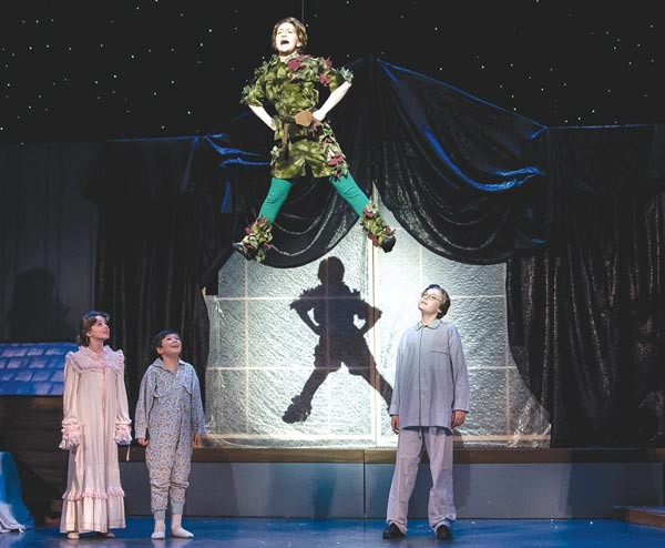 From left to right: Jillian Ferguson, Brecken Farrell, Michelle Coben and Benjamin Godley-Fisher in Pittsburgh Musical Theater's Peter Pan - PHOTO COURTESY OF ROCKHAN PHOTOGRAPHY