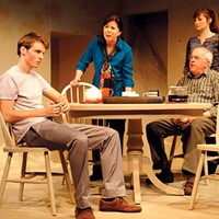 From left to right: Justin Mark DeWolf, Holly Thuma, Daina Michelle Griffith and Larry John Meyers in <i>MIA</i>, at The Rep.