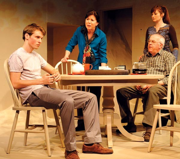 From left to right: Justin Mark DeWolf, Holly Thuma, Daina Michelle Griffith and Larry John Meyers in MIA, at The Rep.
