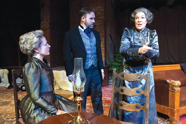 From left to right: Robin Walsh, Malcolm Tulip and Bridget Connors in Quantum's John Gabriel Borkman.