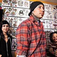 """From left to right, tattoo artists Jesse Buman, Justin Palencsar and Brian """"Bullets"""" Holton"""