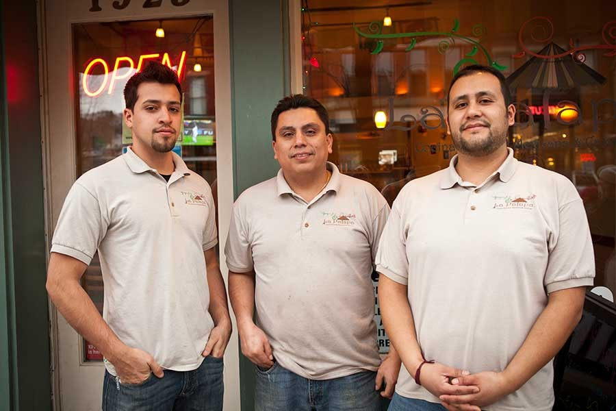 Front-of-house staff Lester Luiggie, with co-owners Luis Navarrete and Jesus Martinez