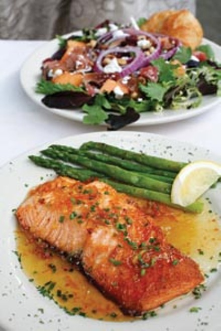 Ginger-and-orange-seared salmon with asparagus and prosciutto-cantaloupe salad - HEATHER MULL
